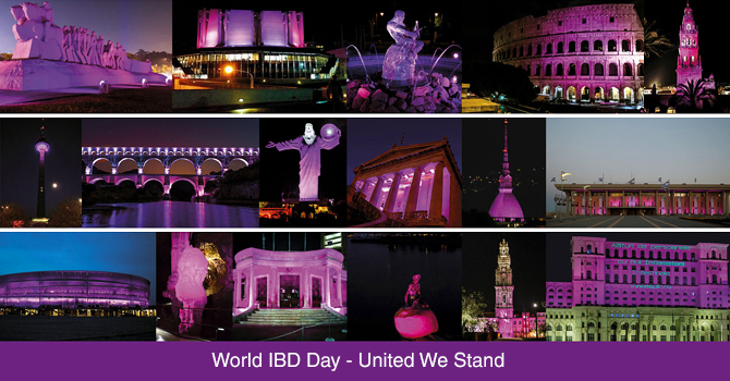 World IBD Day campaing make Highlight landmarks in purple